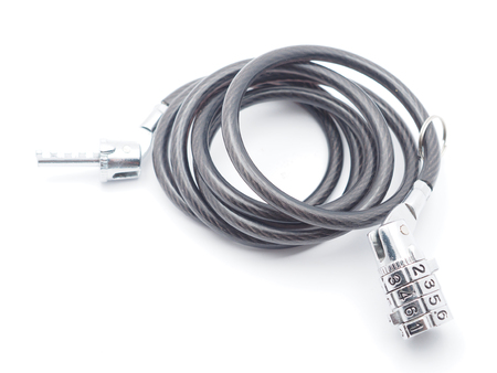 coded: coded bike lock on a white background Stock Photo