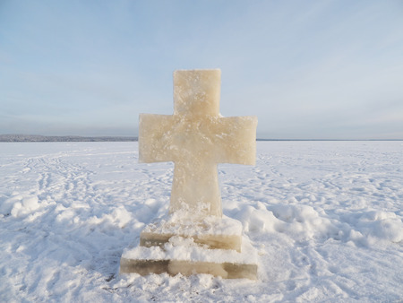 Cross ice on the lake in winter photo
