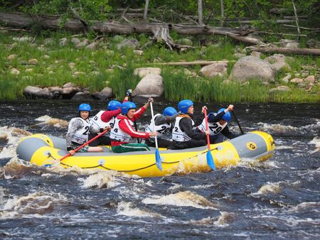 jule: SHUA RIVER, KARELIA REGION, RUSSIA - JULE 3, 2015: Youth Championship of Russia on rafting on Shua river, Karelia region, Russia.