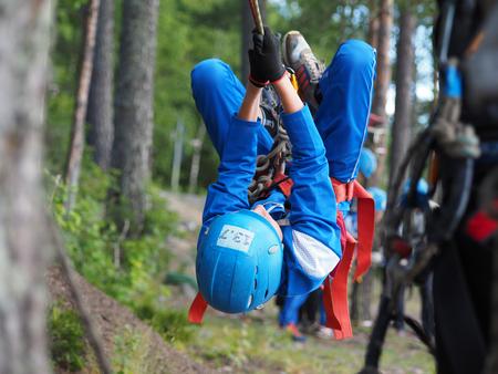 karelia: LOSOSINNOE LAKE, KARELIA REGION, RUSSIA - JUNE 29, 2015: Russian youth competition Survival School on Lososinnoe lake, Karelia region, Russia.