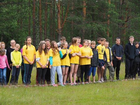 pista: SHUA RIVER, KARELIA REGION, RUSSIA - JULE 3, 2015: Youth Championship of Russia on rafting on Shua river, Karelia region, Russia.