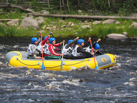 rafter: SHUA RIVER, KARELIA REGION, RUSSIA - JULE 3, 2015: Youth Championship of Russia on rafting on Shua river, Karelia region, Russia.