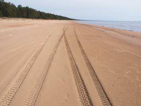 tire tracks: tire tracks on the sandy shore of the lake Stock Photo