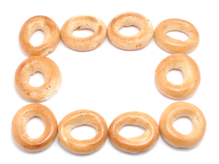 jewry: frame of crackers on a white background Stock Photo