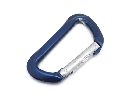 rapelling: climber carabiner on white background