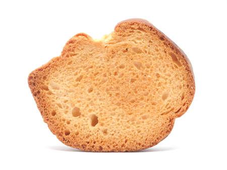 sesame cracker: Dried white bread on a white background