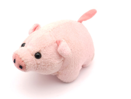 soft toy: soft toy pig on a white background