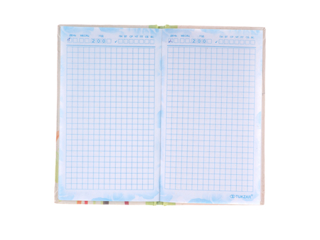 open notebook: Open notebook on white background