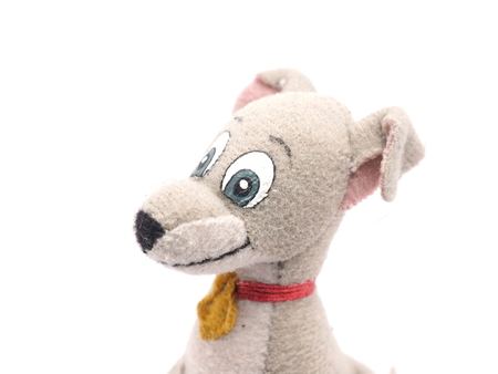 snugly: soft toy dog on a white background