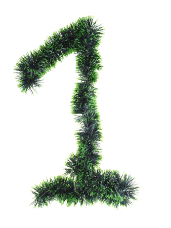 christmas decorations with white background: numeral from green Christmas tree decorations on a white background