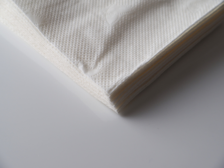 lunch room: table napkins on a gray background Stock Photo