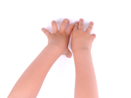 childrens hands on a white background Stock Photo