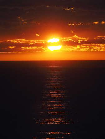crimson colour: sunset on the Barents Sea Stock Photo
