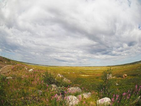 mountaintop: cloudy sky over the tundra in the north of Russia