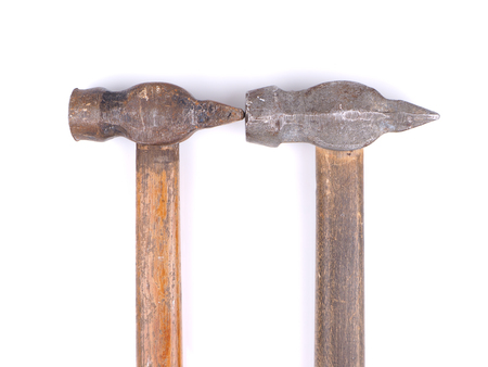 two old hammer on a white background Stock Photo