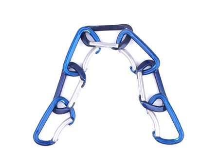 blue climbing carabiners on a white background Stock Photo