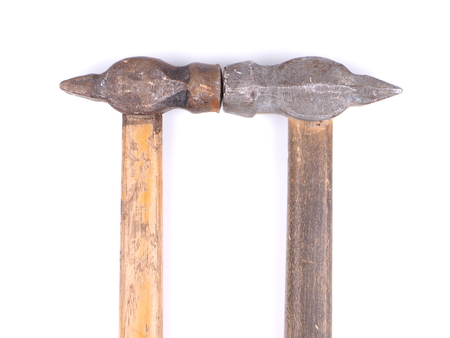 claw hammer: two old hammer on a white background Stock Photo