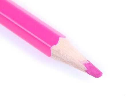 Pink pencil on white background