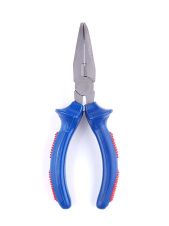 Blue pliers on a white background