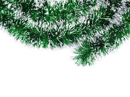 Christmas tree ribbon decoration on a white background Stock Photo