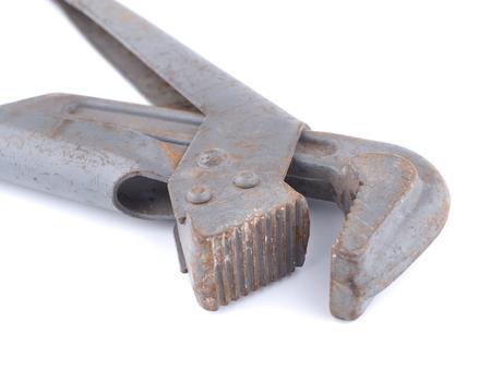 alligator wrench: Adjustable wrench on white background Stock Photo