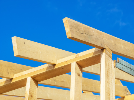 Construction of a frame house Stock Photo