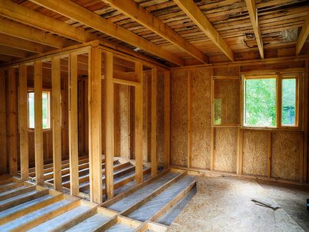 Flooring in frame house Stock Photo