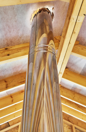 chimney in a frame house