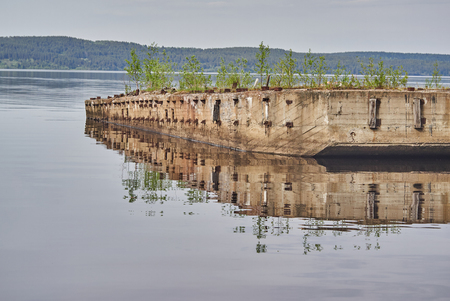 ship pier on the shore of the lake