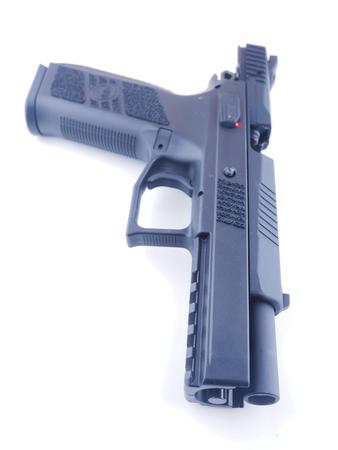 black pistol on a white background Stock Photo