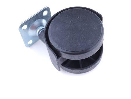 plastic black wheels on a white background