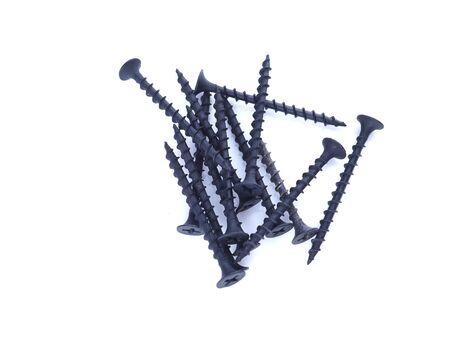 black screws on a white background