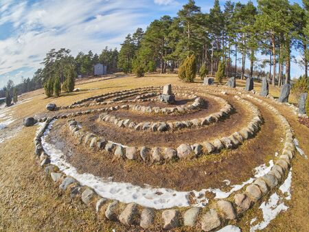 maze of stones in the park. Spring