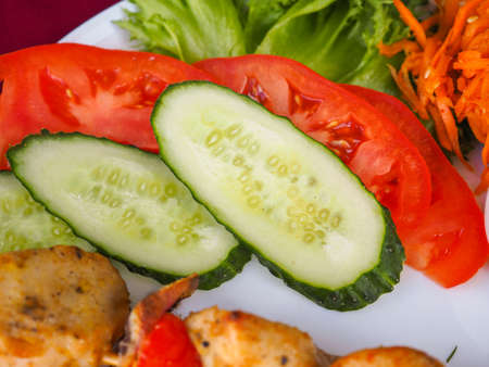 Chicken kebab with tomato and greens on a red background