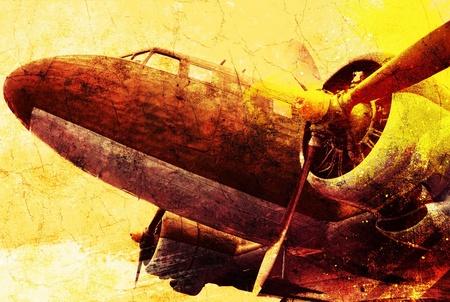 old plane: Grunge old military plane Stock Photo