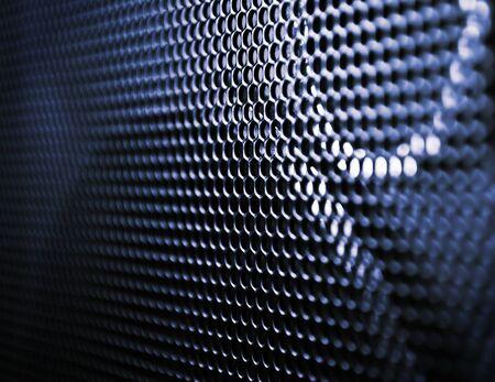 orador: Cerrar parrilla de altavoz de grunge, fondos, textura de metal azul