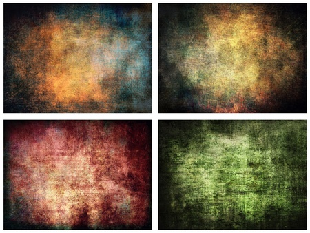 canvas on wall: Dark grunge backgrounds set