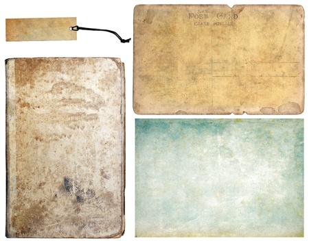 worn paper: Libro vintage, etiquetas, papel y tarjeta postal antigua, conjunto de colecci�n