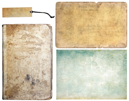 Vintage book, tag, paper and old post card, collection set Stock Photo - 9976067