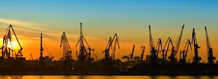 port: Cargo port at night, panorama