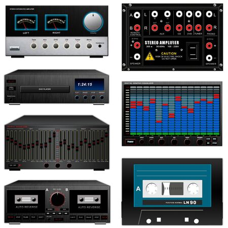 amp: Audio equipment set, amp, equalizer, cassette, deck, dvd