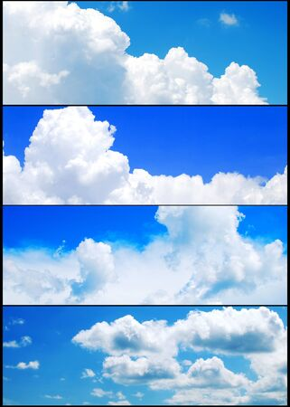 Blue cloudy sky banners collection Stock Photo - 9976042