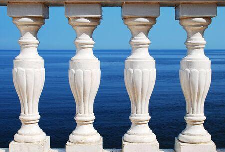 balustrade: Antique stone balustrade and sea
