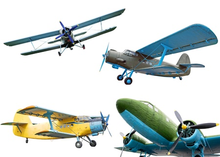 biplane: Retro planes isolated on white background, collection