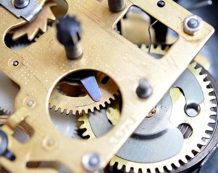 Clockwork close up, mechanical clock gear Stock Photo - 9885915