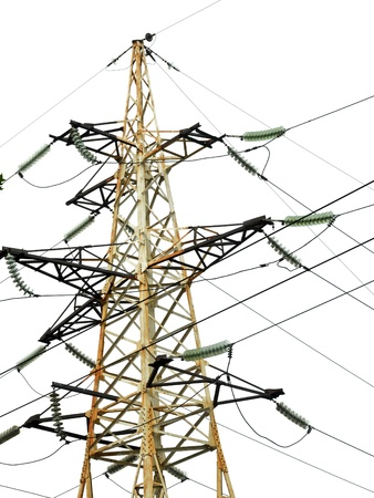 High voltage tower isolated on white Stock Photo - 9885924