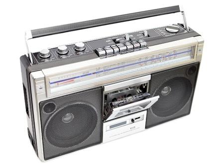 grabadora: Grabadora de cassette de radio, aislado en blanco, abri� cassette deck