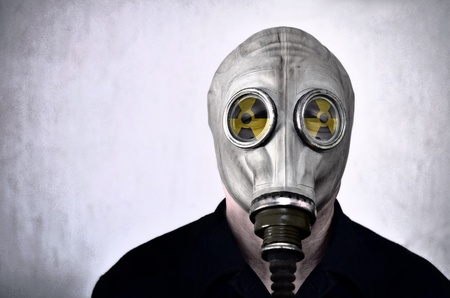 Man in gas mask, photo in grunge style photo