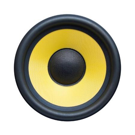 electronic music: Speaker isolated on white Stock Photo