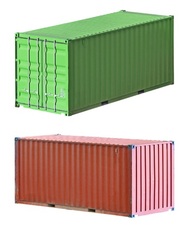 Freight shipping containers isolated on white, set photo